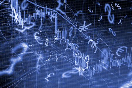 comercio: Las operaciones de cambio concepto de fondo con símbolos de moneda