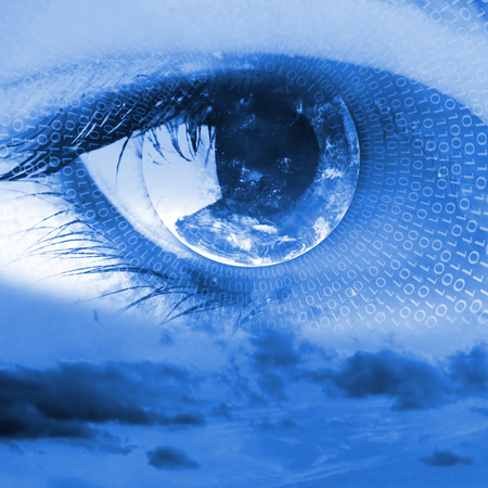 A sight from heaven - female clear eye in clouds fantasy concept Stock Photo