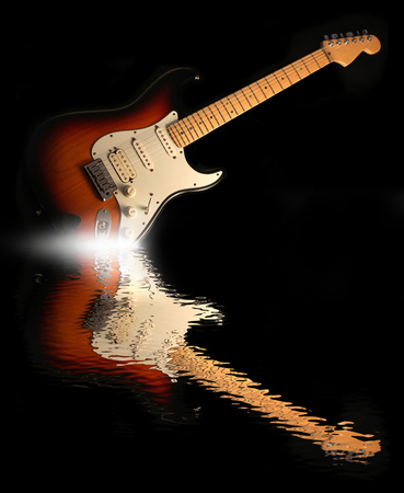 water reflection: Concept of reflection of the electric guitar in the water
