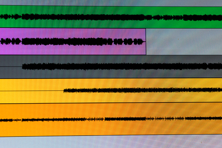 Proffestional music recording sound wave lanes in the studio software Stock Photo