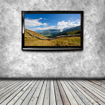 go for: Plasma TV on the wall of the room with wooden floor