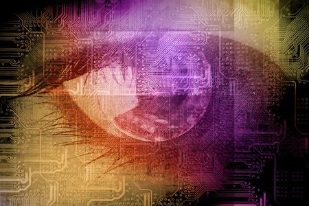 Tecnología en el ojo - concepto de tecnología futurista de negocios Foto de archivo - 60059193