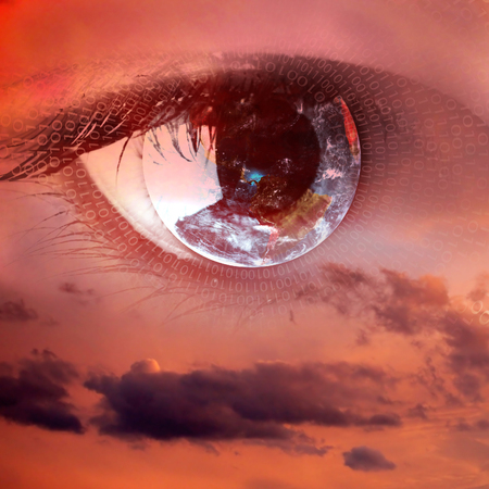 A sight from heaven - female clear eye in clouds fantasy concept