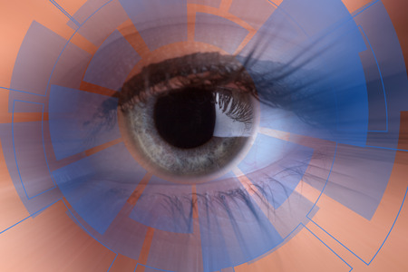 Technology in the eye - futuristic technology business concept Stock Photo