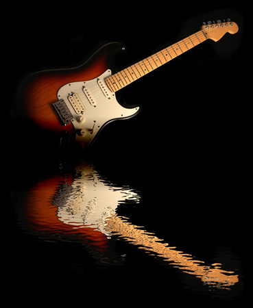 reflection in water: Concept of reflection of the electric guitar in the water