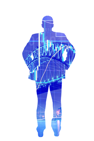 commodity: Commodity forex trading technical analysis concept with businessman Stock Photo