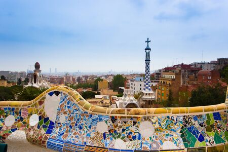Park Guell by architect Antonio Gaudi in Barcelona, Spain.