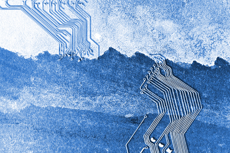 electronic board: Microchip background - close-up of electronic circuit board with watercolor