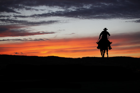 Cowboy silhouette on a horse during nice sunset Stok Fotoğraf - 64320097