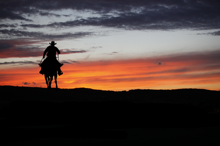Cowboy silhouette on a horse during nice sunset Stok Fotoğraf - 64320198