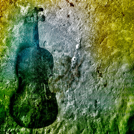 Old broken violin on the rusty background Stock Photo