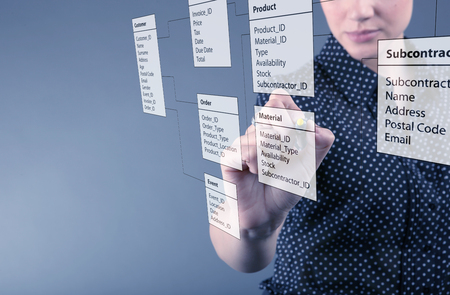 Programmer-woman designs a new database tables photo