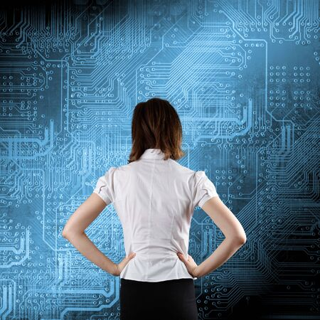 busness: Microchip background - technology concept with busness woman
