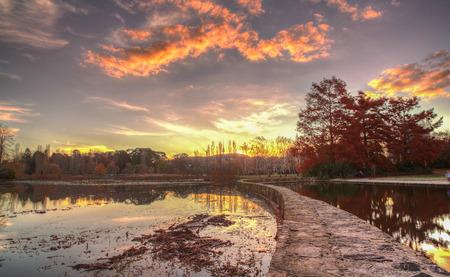 Autumn Lake Burley Griffin in Canberra, Australian Capitol Territory. Australia.