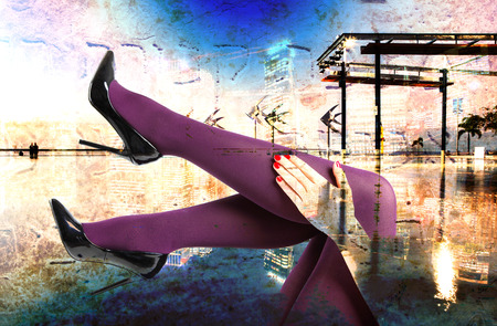 merged: Abstract Modern City Background with legs and high heels Stock Photo