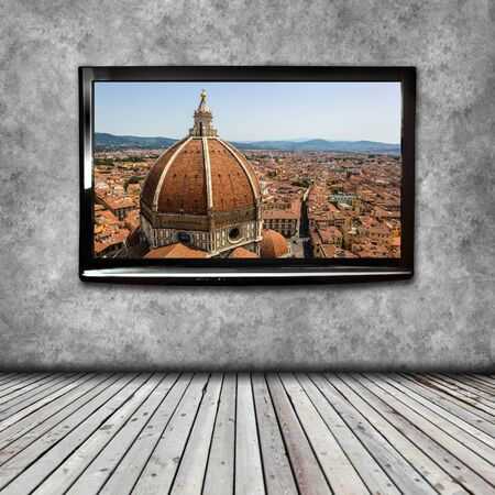 definition high: 4K TV isolated with picture on screen