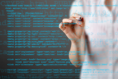 Source code technology background with businessman