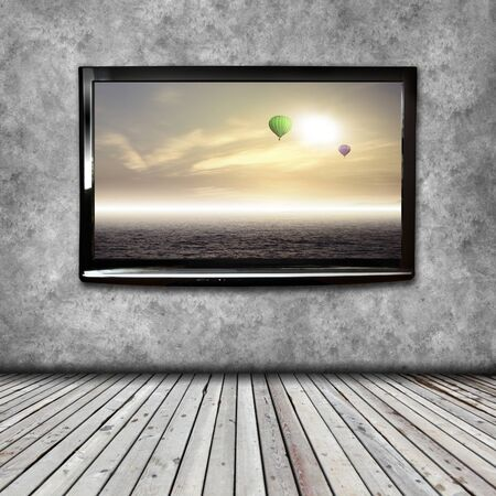 hdtv: 4K TV isolated with picture on screen