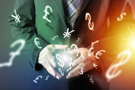pip: Forex trading concept with hands of businessman Stock Photo
