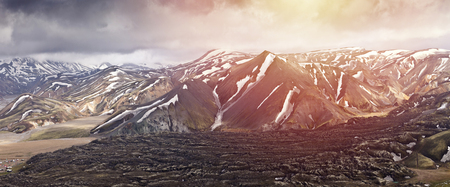 Panoramatic view on Rainbow Mountains in Iceland, Landmannalaugar