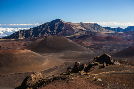 Colors of massive volcanic crater at Haleakala National Park on the island of Maui, Hawaii. Stock Photo