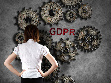 Business woman and concept of GRPR - general data protection regulation Foto de archivo