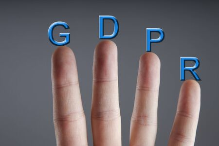Business man and concept of GRPR - general data protection regulation Stock Photo