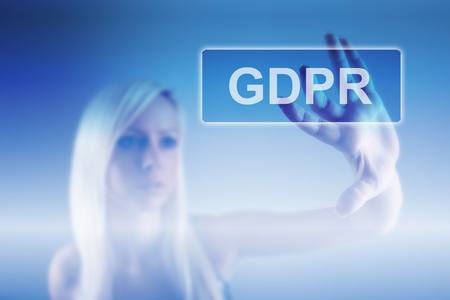 Business woman and concept of GRPR - general data protection regulation 스톡 콘텐츠