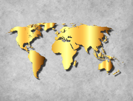 Abstract World Map background on wall with gold texture