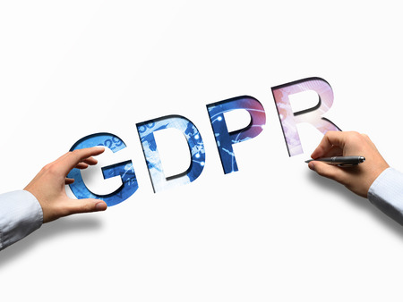 Businessman writing GDPR letters - concept of GRPR - general data protection regulation Stock Photo