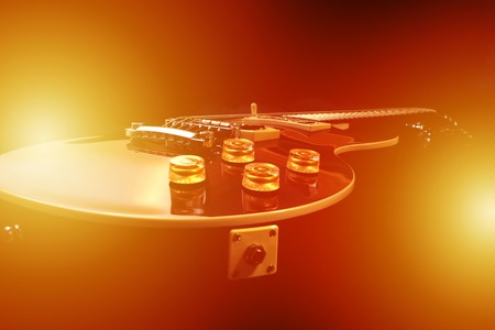 Electric guitar isolated with light effects, studio shot Stock Photo