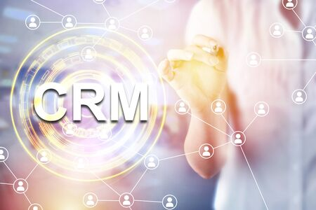 CRM - Customer relationship management concept. Customer service and relationship management business tools. Stok Fotoğraf
