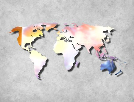 Abstract World Map background on wall with texture