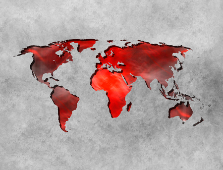 Abstract World Map background on wall with fire texture Stock Photo