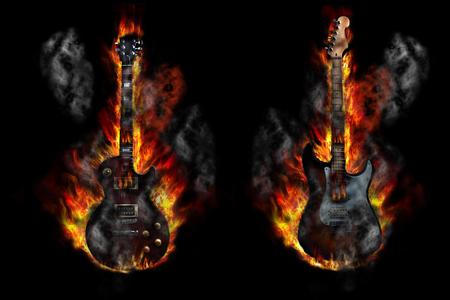 Burning guitars on black background, illustration Banco de Imagens