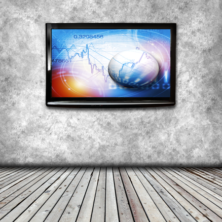4K TV isolated with picture on screen