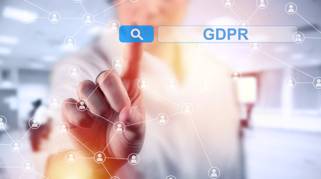 Business woman and concept of GRPR - general data protection regulation Stock Photo