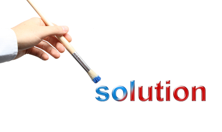 Solution business concept with hand and brush