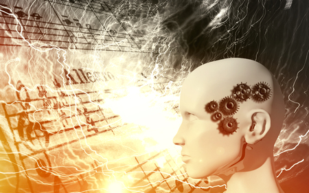 Raise of the machines in music - artificial intelligence, robot, cyborg concept Stok Fotoğraf