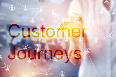 Customer Journeys Business Concept - businesswoman touching screen with wards and social network Stok Fotoğraf
