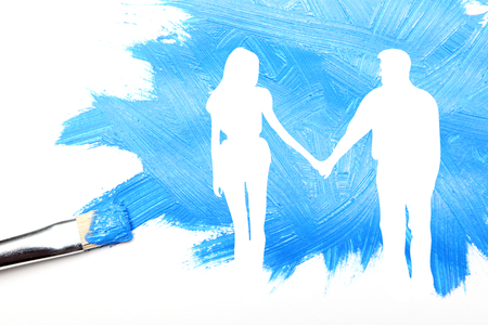 Couple drawn by brush in white, abstract painting concept Stok Fotoğraf