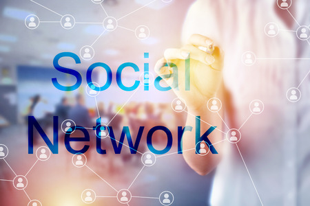Social network concept with businesswoman