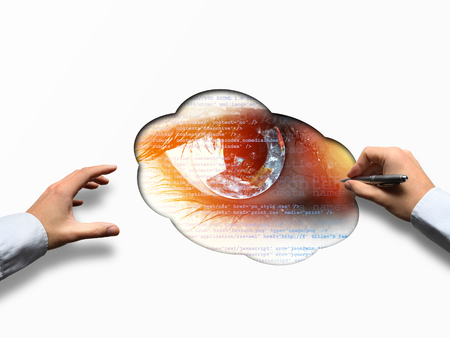 Earth in the eye business vision concept with paper and hands