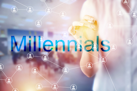 Millennials HR hiring concept with social network diagram Stock Photo