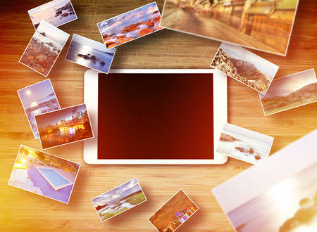 Tablet it technology concept - Tablet lying on the table with blank screen Stok Fotoğraf