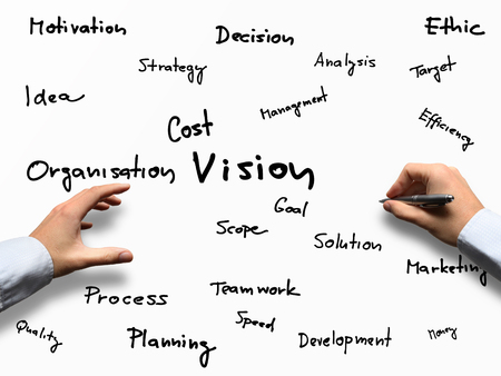Vision business concept - vision as a part of word puzzle Stok Fotoğraf