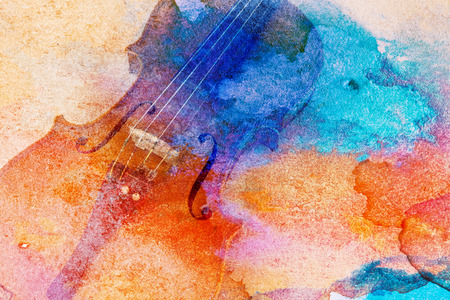 Abstract violin background - violin lying on the table, music concept Stok Fotoğraf