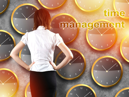 Businessman standing - time strategy concept incolor