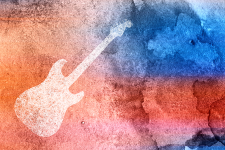 Abstract Modern Water Color Electric Guitar Background Stok Fotoğraf