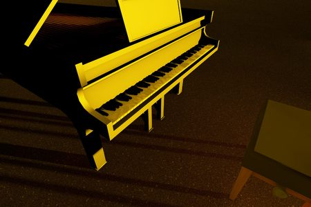 Black Grand Piano on the stage of concert hall